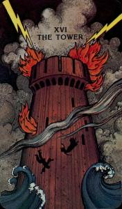 The Tower card from the Morgan-Greer Tarot